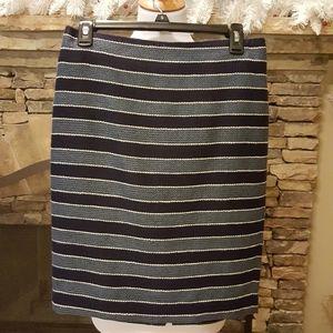 Ann Taylor Loft Casual Skirt: Blue Stripes Skirt